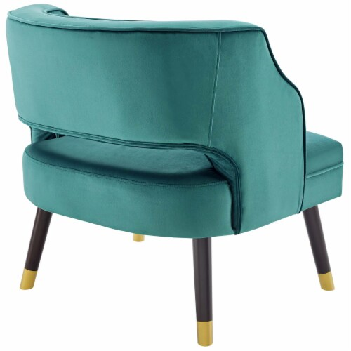 Traipse Button Tufted Open Back Performance Velvet Armchair Perspective: top
