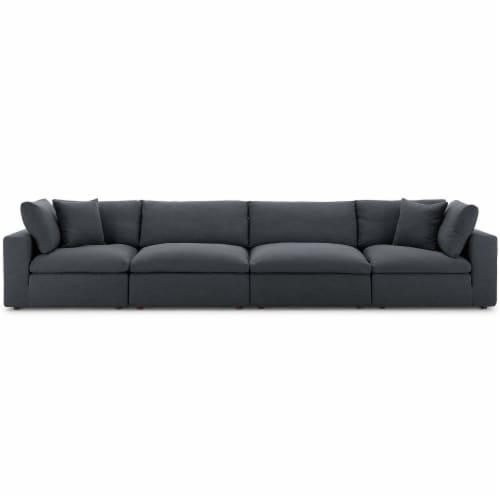 Commix Down Filled Overstuffed 4 Piece Sectional Sofa Set - Gray Perspective: top