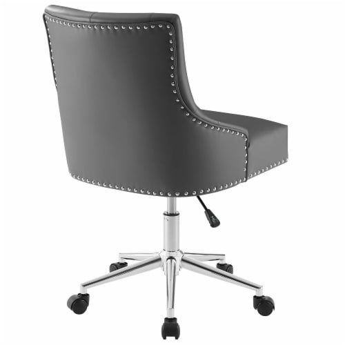 Regent Tufted Button Swivel Faux Leather Office Chair Perspective: top