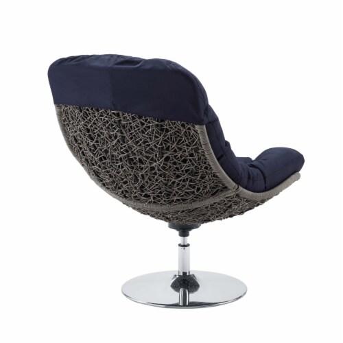 Brighton Wicker Rattan Outdoor Patio Swivel Lounge Chair Light Gray Navy Perspective: top