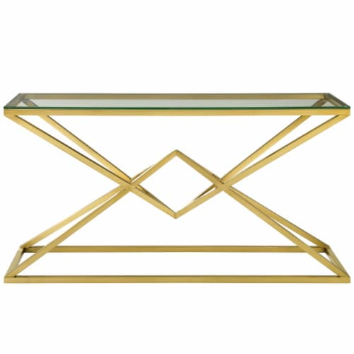 """Point 59"""" Brushed Gold Metal Stainless Steel Console Table Perspective: top"""