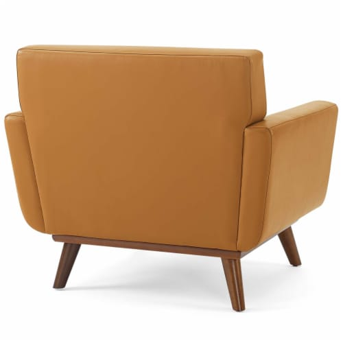 Engage Top-Grain Leather Living Room Lounge Accent Armchair Tan Perspective: top