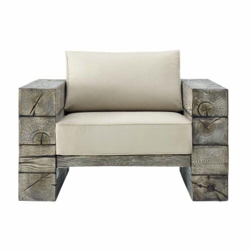 Manteo Rustic Coastal Outdoor Patio Sunbrella  Lounge Armchair Light Gray Beige Perspective: top
