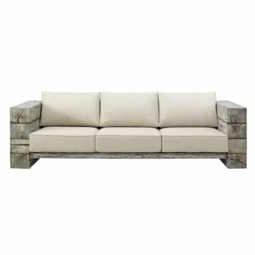 Manteo Rustic Coastal Outdoor Patio Sunbrella  Sofa Light Gray Beige Perspective: top
