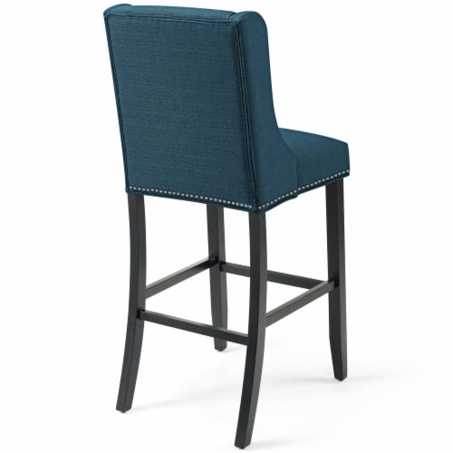 Baron Upholstered Fabric Bar Stool Azure Perspective: top
