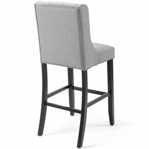 Baronet Tufted Button Upholstered Fabric Bar Stool Light Gray Perspective: top