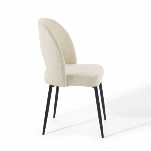 Rouse Upholstered Fabric Dining Side Chair Black Beige Perspective: top