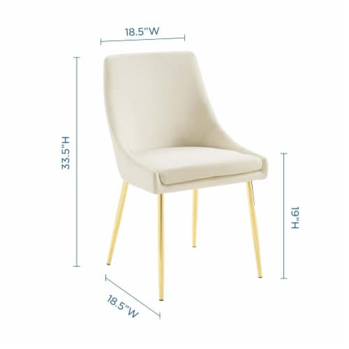 Viscount Performance Velvet Dining Chairs - Set of 2 Gold Ivory Perspective: top