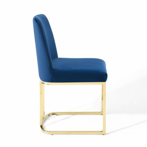 Amplify Sled Base Performance Velvet Dining Side Chair Gold Navy Perspective: top