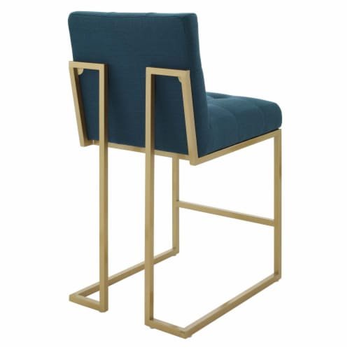 Privy Gold Stainless Steel Upholstered Fabric Counter Stool Gold Azure Perspective: top