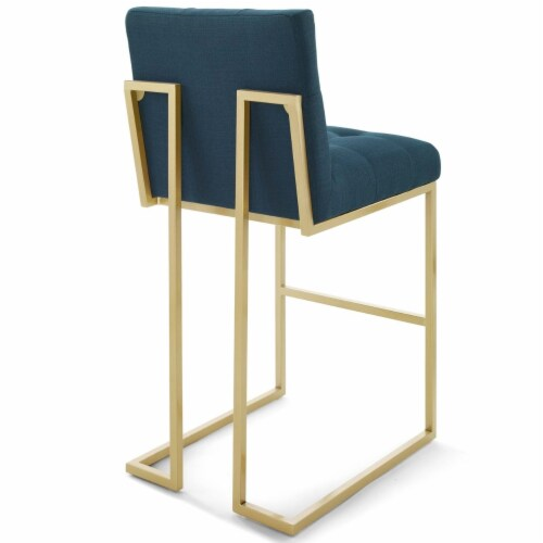 Privy Gold Stainless Steel Upholstered Fabric Bar Stool Gold Azure Perspective: top