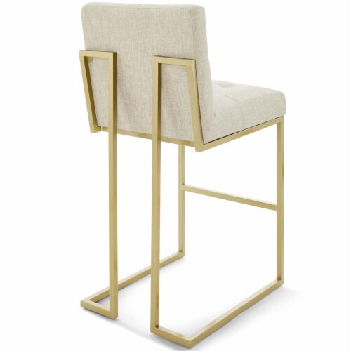 Privy Gold Stainless Steel Upholstered Fabric Bar Stool Gold Beige Perspective: top