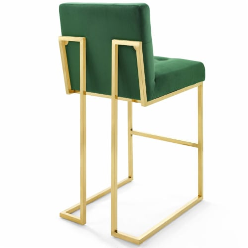 Privy Gold Stainless Steel Performance Velvet Bar Stool Gold Emerald Perspective: top