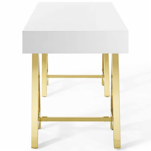 Jettison Office Desk Gold White Perspective: top