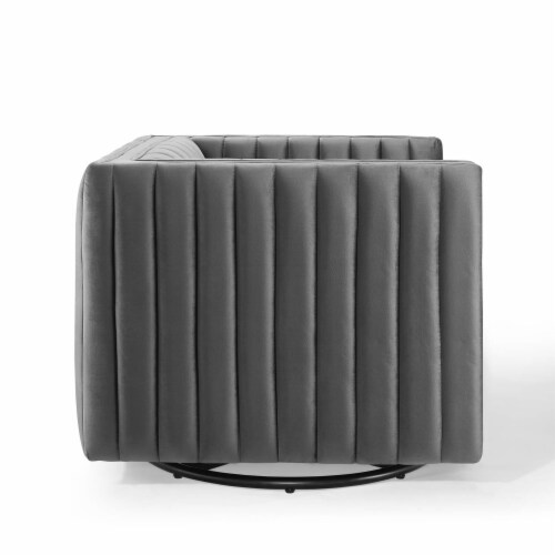 Conjure Channel Tufted Performance Velvet Swivel Armchair Gray Perspective: top