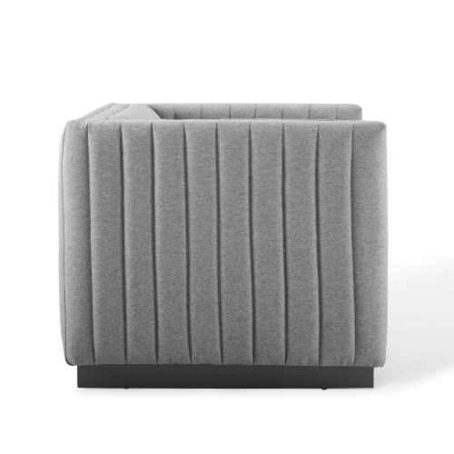 Conjure Tufted Upholstered Fabric Armchair Light Gray Perspective: top