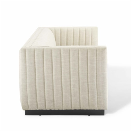 Conjure Tufted Upholstered Fabric Sofa Beige Perspective: top
