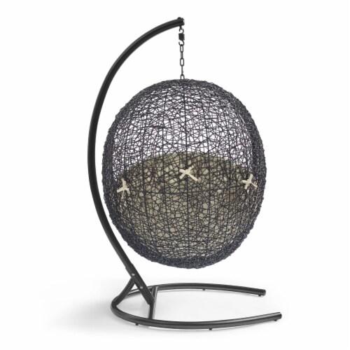 Encase Sunbrella Swing Outdoor Patio Lounge Chair Black Beige Perspective: top