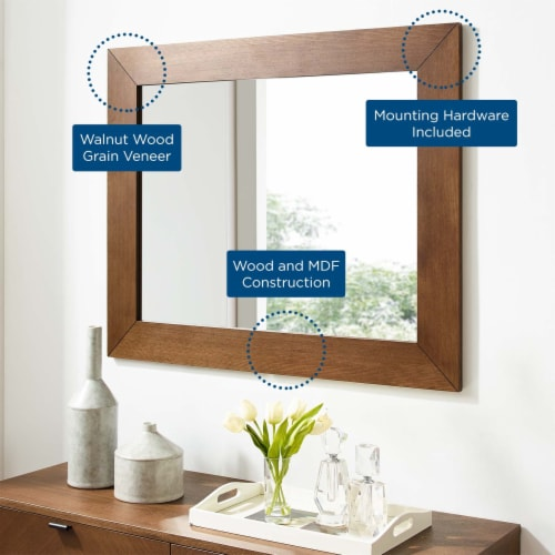 Kali Wall Mirror Walnut Perspective: top