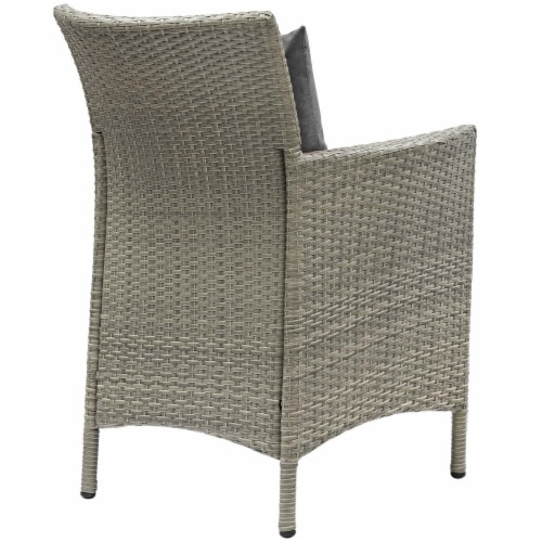 Conduit Outdoor Patio Wicker Rattan Dining Armchair Set of 4 Light Gray Charcoal Perspective: top