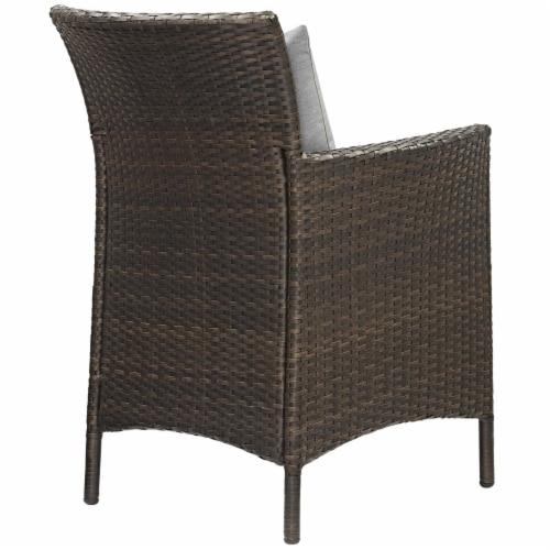 Conduit Outdoor Patio Wicker Rattan Dining Armchair Set of 2 Brown Gray Perspective: top