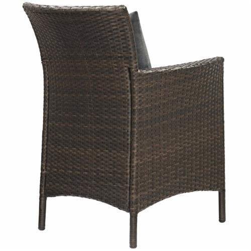 Conduit Outdoor Patio Wicker Rattan Dining Armchair Set of 4 Brown Charcoal Perspective: top