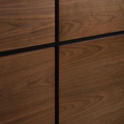 Caima 3 Piece Queen Bedroom Set Walnut Perspective: top