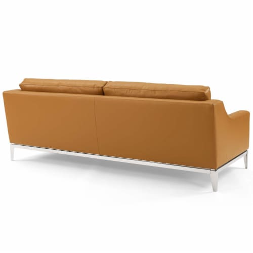 Harness Stainless Steel Base Leather Sofa and Loveseat Set Tan Perspective: top
