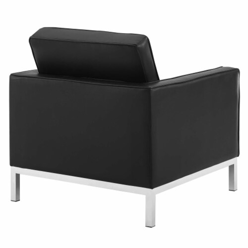 Loft Tufted Upholstered Faux Leather Armchair Set of 2 Silver Black Perspective: top