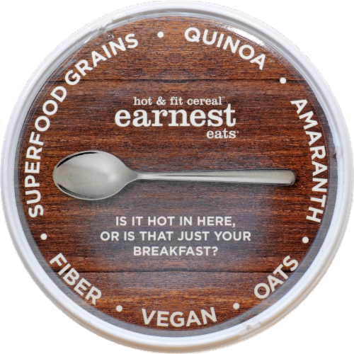 Earnest Eats Hot And Fit Cereal Cup Superfood Blueberry Chia Perspective: top