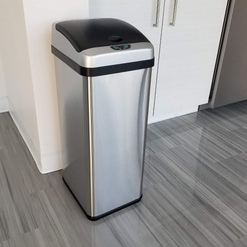iTouchless IT13RX 13 Gallon Touchless Kitchen Garbage Trash Can, Stainless Steel Perspective: top