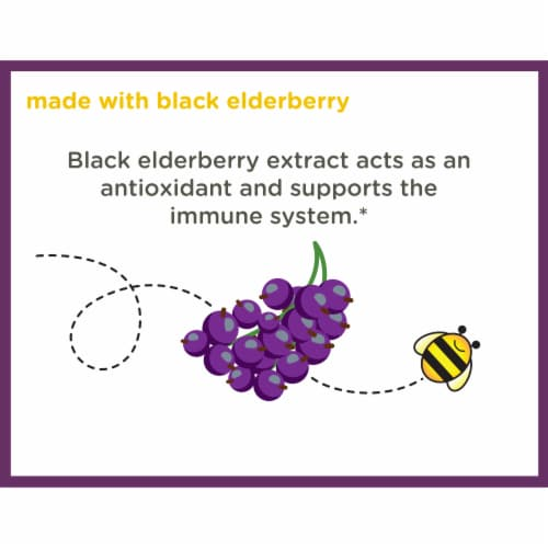 Zarbee's Natural's Children's Elderberry Flavored Immune Support Dietary Gummies Perspective: top