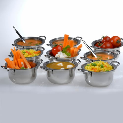 BergHOFF Stainless Steel Covered Mini Pot Set Perspective: top