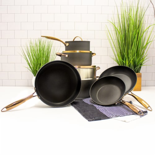 BerfHoff Worldwide Hard Anodized Chef's Set - Black/Rose Gold Perspective: top