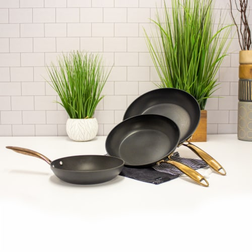 BergHOFF Ouro Hard Anodized Fry Pan Set - Black/Rose Gold Perspective: top