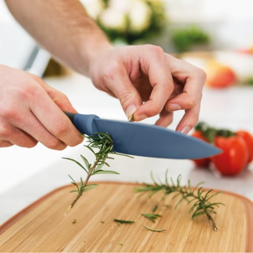 BergHOFF Leo Stainless Steel Chef Knife with Herb Stripper - Blue Perspective: top