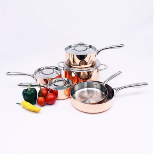 BergHOFF Tri-Ply Cookware Set - Polished Copper Perspective: top