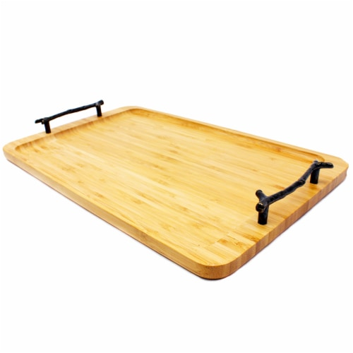 BergHOFF Bamboo Tray with Wrought Iron Handles Perspective: top