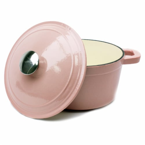 BergHOFF Neo Cast Iron Round Covered Stockpot - Pink Perspective: top
