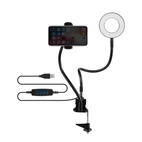 Volkano Insta Series Ring Light Phone Holder with Desk Clamp Perspective: top
