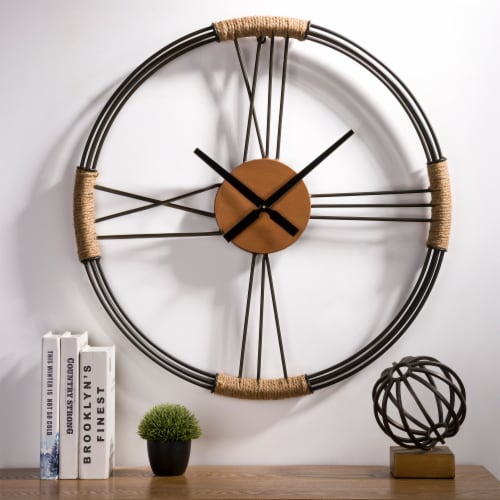 Glitzhome Farmhouse Moderrn Black Metal and Rope Wall Clock Perspective: top