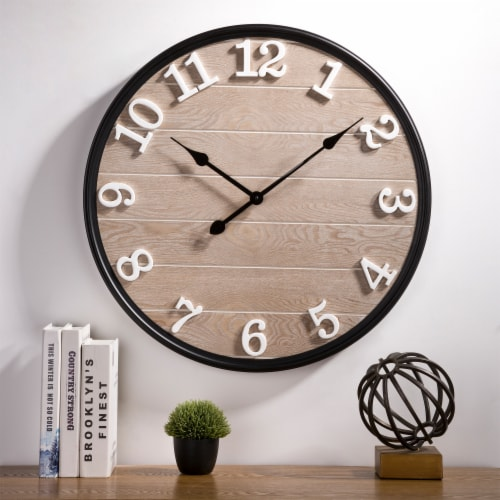 Glitzhome Farmhouse Modern Black Metal/Wooden Wall Clock Perspective: top