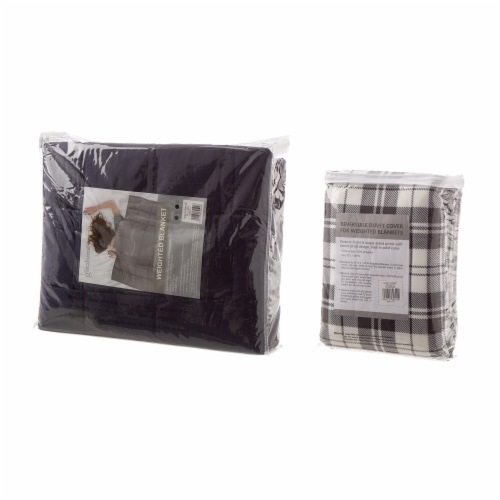 Glitzhome Cotton Quilted Weighted Blanket and Removable Duvet Cover Perspective: top
