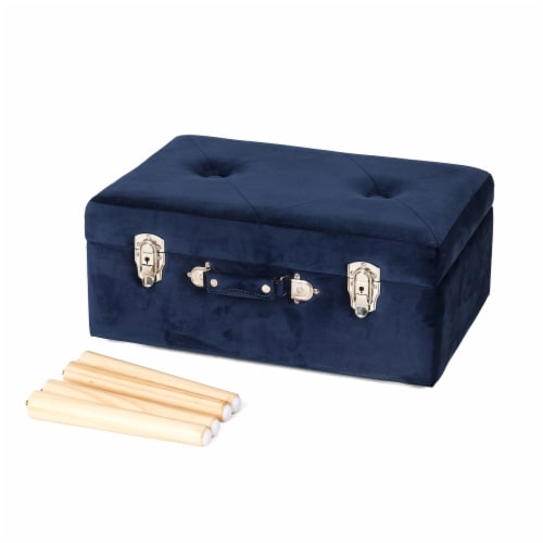 Glitzhome Velvet & Wooden Upholstered Storage Stool - Navy Blue Perspective: top