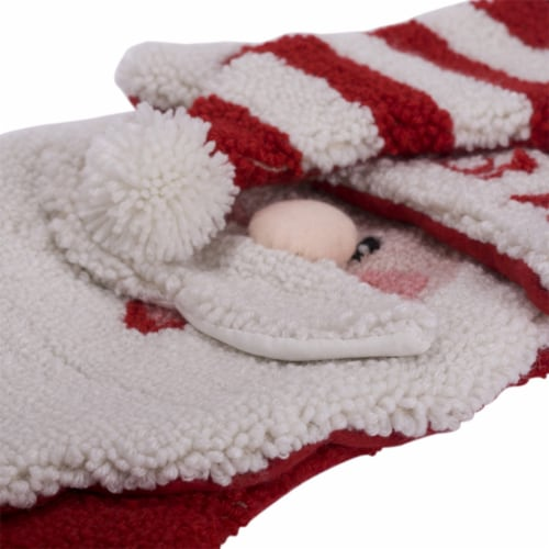 Glitzhome  Hooked Stocking with a Cute 3D Santa Design Perspective: top