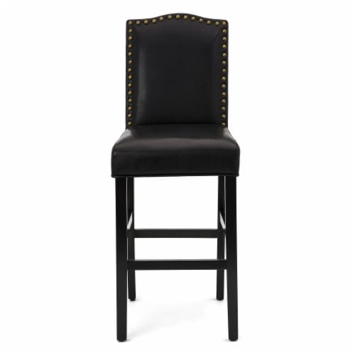 Glitzhome Studded Leatherette Barchair - Black Perspective: top