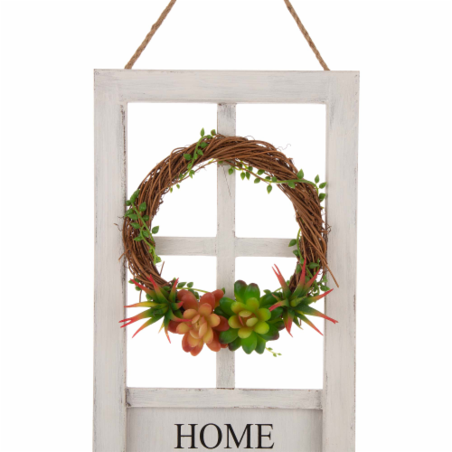 Glitzhome Wreath and Succulent Wooden Door Frame Wall Decoration Perspective: top