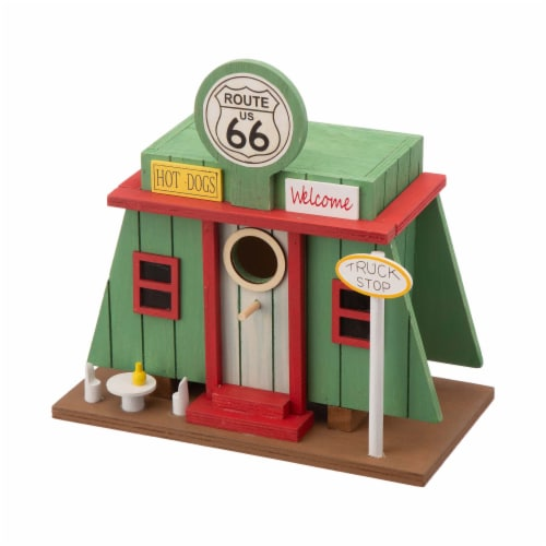 Glitzhome Wooden Truck-Stop Decorative Birdhouse Perspective: top