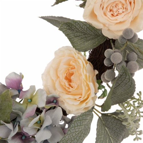 Glitzhome Spring Wreath with Artificial Hydrangea Rose and Green Leaves Perspective: top