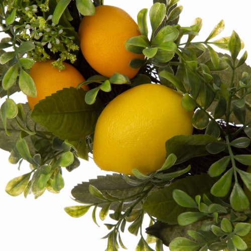 Glitzhome Artificial Greenery with Faux Lemons Wreath Perspective: top